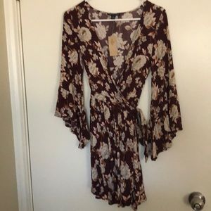 Maroon American Eagle Floral Dress